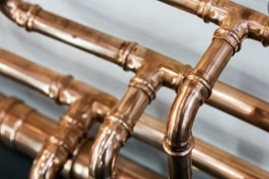 copper brass plumbing pipes installed in bathroom