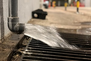 water discharge or water drain from